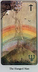 A significant astropoetic image in Joe's own life: The Hanged Man depicted here on a Tarot card