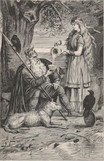 Astropoetics in Practice. Odin with Raven and Wolf.
