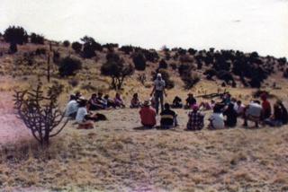 Joe Landwehr teaching in the New Mexico desert